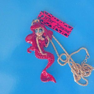 Betsey Johnson RED hot Mermaid Pendant Necklace